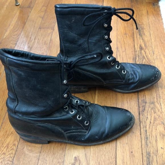 a46a1c0907f53 Vtg Justin Black Leather Combat Boots
